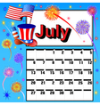 calendar for July independence day vector image