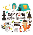 camping animals explore the world vector image vector image