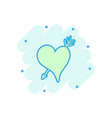 cartoon colored heart icon in comic style love vector image vector image