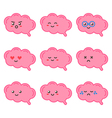 Cartoon cute brain character with facial emotions vector image vector image