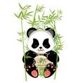 cartoon panda with ramen vector image vector image