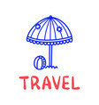 Cartoon travel sun umbrella doodle lettering for