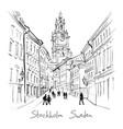 church storkyrkan in stockholm sweden vector image