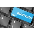 Computer keyboard - key motivate close-up vector image vector image