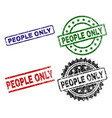 damaged textured people only seal stamps vector image vector image