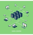 Data isometric set with data center and network vector image vector image