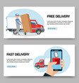 delivery service free and fast background set of vector image vector image