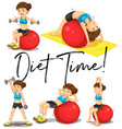 diet time poster with woman exercising with ball vector image