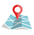 flat color location icon on paper map vector image vector image