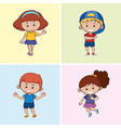 four children with happy smile vector image vector image