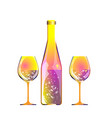 glasses of champagne and motley bottle by bright vector image