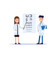 good doctors an oculist or an ophthalmologist vector image