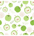 green apple seamless pattern green piece apple vector image