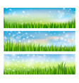 green nature landscape set with grass and blue sky vector image vector image