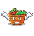 grinning fruit basket character cartoon vector image