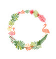 hand drawn tropical flower and flamingo wreath vector image vector image