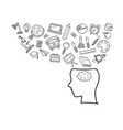 human head with education doodles icons vector image vector image