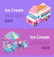 ice cream mobile umbrella cart and minivan poster vector image vector image