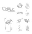 isolated object of food and drink icon set of vector image