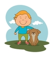 kid with cute mascot vector image