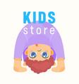 kids store banner bashop label or emblem with vector image
