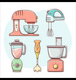 kitchen appliances mix and blend hand drawn vector image