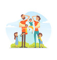large family with many children tired parents vector image vector image