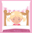 little girl sleeps in bed speech bubble vector image vector image