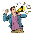 man protester with megaphone isolate on white vector image vector image