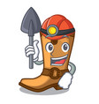 miner old cowboy boots in shape character vector image vector image