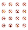 No insect sign icons set flat style vector image vector image