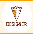 pencil combined with crown simple trendy logo or vector image