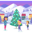 people on icerink in decorated christmas town vector image vector image