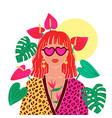 portrait a red hair woman in urban jungle vector image