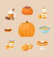 pumpkins dishes cartoon menu vector image vector image