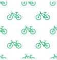 seamless bike pattern green line bicycle vector image