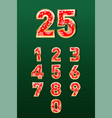 set beautiful christmas numbers in gold and red vector image vector image