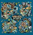 set marine nautical doodles design vector image vector image