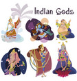 set of isolated indian gods meditation in yoga vector image