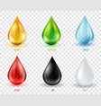 set transparent drops of various mos vector image vector image
