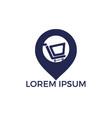 shopping cart and map pointer logo design vector image vector image