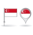 Singapore pin icon and map pointer flag vector image