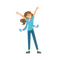 smiling football fan girl character in blue vector image vector image