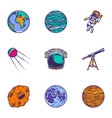 space planet icon set hand drawn style vector image