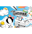 summer doodle symbol and objects icon design vector image vector image