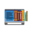 tablet with electronics books vector image vector image