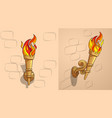 the torch with burning fire the ornate decor day vector image