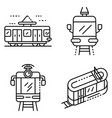 tram car icons set outline style vector image vector image