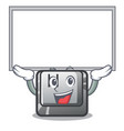 up board h button installed in cartoon game vector image vector image