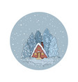 winter scene house and pine trees in a snow globe vector image vector image